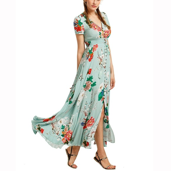 dacab1483f Milumia Dresses   Button Up Split Mint Floral Dress Xs   Poshmark